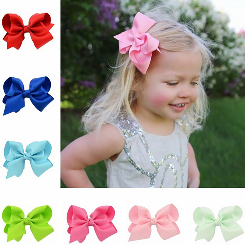 4 Inch Fashion Children's Ribbon Bow Hairpin Clips Girls Large Bowknot   Headwear   Kids Hair Boutique Bows Baby Hair Accessories O