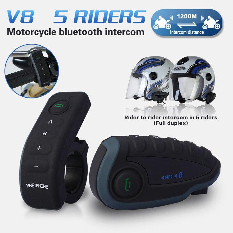V8 Synchronous Motorcycle Intercom 1200m Wireless Multi-Interphone For 5 Riders FM Radio Phone Speaker Bluetooth Helmet Intercom