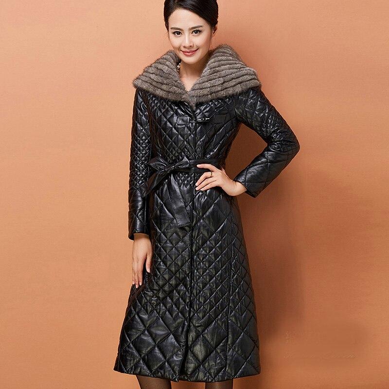 2017 New Winter Faux   Leather   Wool Fur Collar Coats Fashion Elegant Long Warm Jackets Hooded Slim Black Plus Size Outwears YP0576