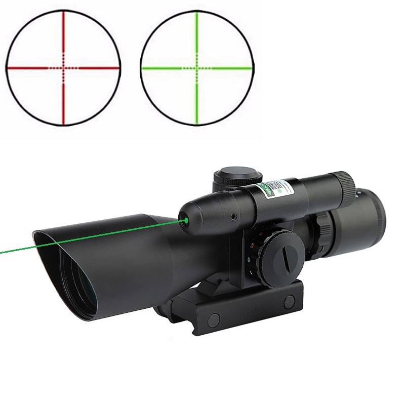 2.5-10x40 Rifle Scope Laser Green Sight Reflex Red & Green Dual illuminated Mil-dot Sight Tactical Compact Laser Riflescope 1 30 reflex laser sight rifle scope red green laser configurable