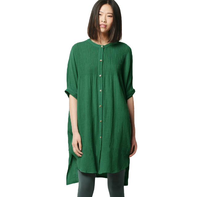 bd92c4844e2 Anself Vintage Women Cotton Blouse Solid Pleated Buttons Irregular Hem 4XL  5XL Plus Size Shirt Split Half Sleeve Loose Long Tops
