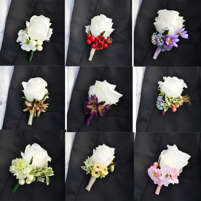 Groom Boutonniere Artificial Silk Rose Flower Best Man Suit For Wedding Flowers Party Decoration
