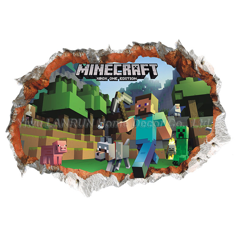 Buy newest minecraft wall stickers 3d for 3d decoration games