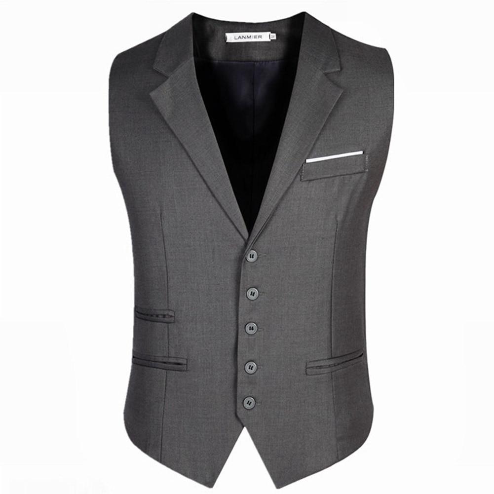 Helisopus Mens Trendy Formal Business Blazer Vests Slim Fit Chain Dress Vest Suit Tuxedo Waistcoat waiter male suits Vests 6XL