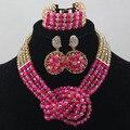 Розовый Кристалл Ювелирные Изделия Устанавливает Свадебный Серьги Колье Ожерелье Ювелирные Наборы для Женщин Уникальный Подарок Ювелирных Изделий Бесплатная Доставка WD180