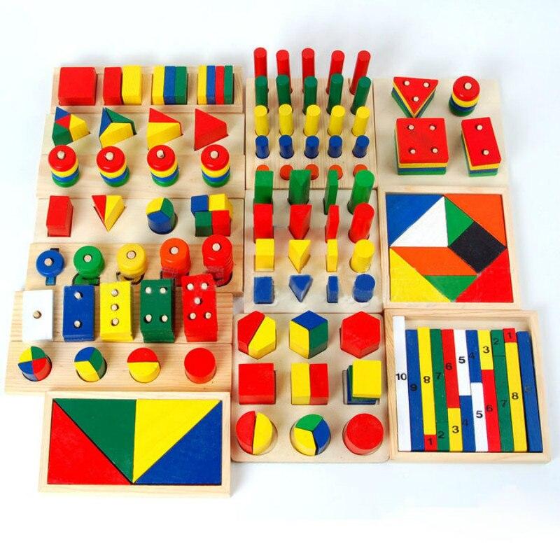 14 Pcs/ensemble Montessori Jouet Cylindre Jouet Éducatif En Bois Enseignement Sida Géométrie Forme Bébé D'apprentissage Outil Combinaison Puzzle Cadeau