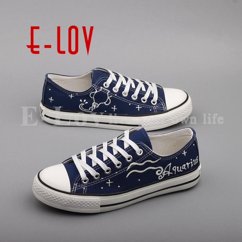 E-LOV Casual Flat Women Shoes Graffiti Aquarius Horoscope Canvas Shoes Luminous Led Oxford Shoe Design Valentine Gifts e lov new arrival luminous canvas shoes graffiti pisces horoscope couples casual shoes espadrilles women