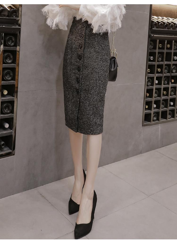 Neophil High Waist Woolen Button Pencil Midi Skirts Office Ladies Office Elegant Grey 19 Winter Wool Wrap Skirts Faldas S1738 15