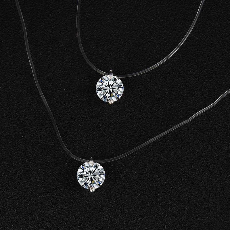 X89 moda biżuteria ślubna błyszczący cyrkon kryształowy naszyjnik i niewidzialna, przezroczysta żyłka wędkarska kobiety naszyjnik na obojczyk