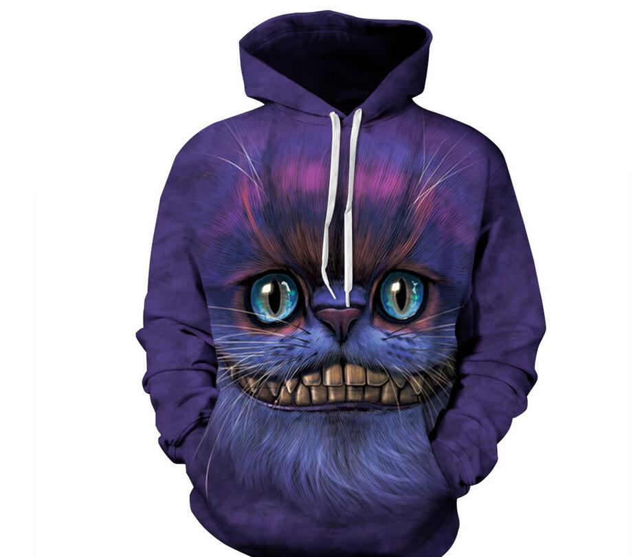 S-XXXL Cheshire Cat Print 3d Sweatshirts Men/Women Hoodies With Hat Thin Hooded Hoody Tops Pullovers Plus Size Casual Sweatshirt