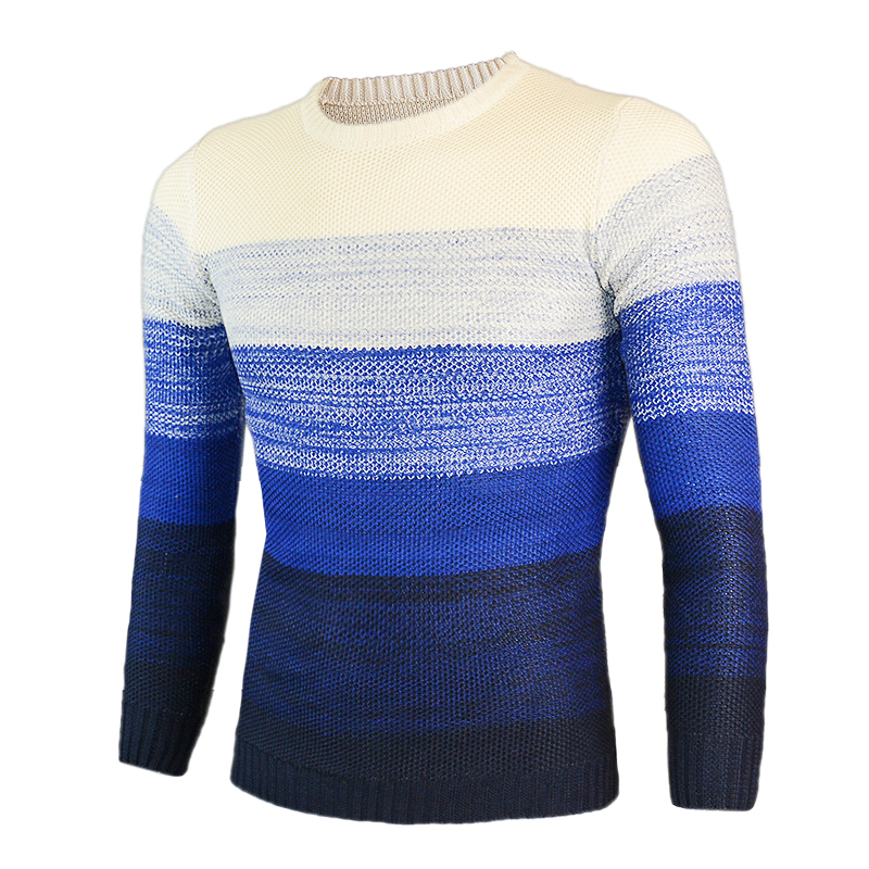2018 new Brand Casual Sweater O-Neck Striped Slim Fit Men Long Sleeve Patchwork Male Pollover Sweater Casual Thin Clothes Autumn