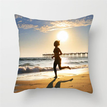Fuwatacchi  Jogging Sport Style Pillow Cover Slim Beauty Sunrise Oceanside Printed Cushion Decorative Pillows for Sofa Car