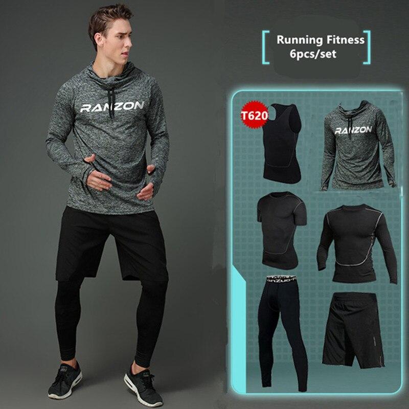 2019 nouveau Compression hommes Sport costumes séchage rapide ensembles de course vêtements Sport Joggers entraînement Gym Fitness survêtements ensemble de course