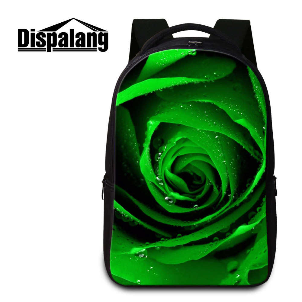 Dispalang Laptop Backpack For Men Women Flowers Print School Bag for Teenagers Bolsa Mochila Notebook Rucksack Green Rose Bag army green men women laptop backpack 15 15 6inch rucksack school bag travel waterproof backpack men notebook computer bag black