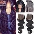 Na Venda! melhor qualidade brasileiro virgem 8a onda do corpo do cabelo lace closure 100% do corpo brasileiro do cabelo humano branqueada knots lace closure