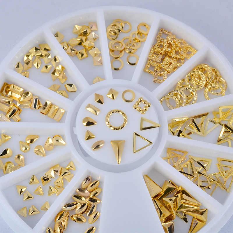 Złoty 3D DIY biżuteria szpilki nity metalowe Mix Hollow okrągły projekt Nail Art Decoration narzędzia