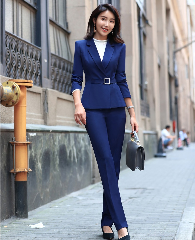 2019 Latest Design Ladies Blue Blazer Women Business Suits Formal Office Suits Work Wear Pant And Jacket Sets Ol Styles Fragrant (In) Flavor