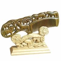 Hot sale 1 PC Handmade Peach Wooden comb natural head massage hair brush hair care 17.5cm*6cm*1cm CB011 animal style thin tooth