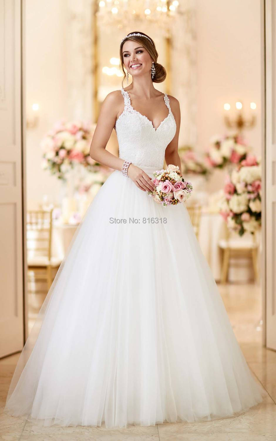 de56d85b1bf Spaghetti Straps Detachable Skirt Wedding Dress Tulle and Lace ...