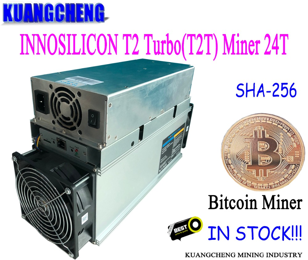 KUANGCHENG mining new INNOSILICON T2 Turbo (T2T) Miner 24TH/s Bitcoin Miner + 1900W Power Supply new style decred miner innosilicon d9 siamaster pow algorithm 2 4th s 900w for decred