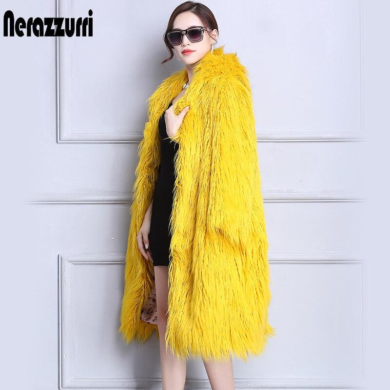 Nerazzurri Faux Fur Coat Winter Women 2018 With Hood Long Yellow Hairy Furry Fake fur Overcoat