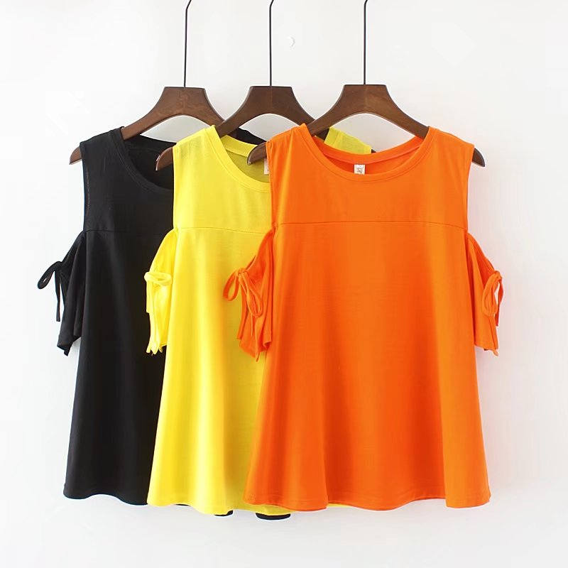 Plus size O-Neck off shoulder women tshirt cotton women summer t-shirt 2018 black & Yellow & orange ladies t shirt femme 5XL