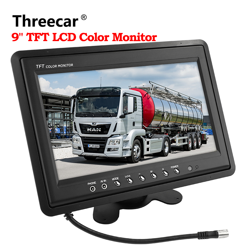 car monitor small display 9 inch digital Color TFT LCD with 2 Video input lcd for reversing parking backup rear view camera ланч бокс bento box черный 895780