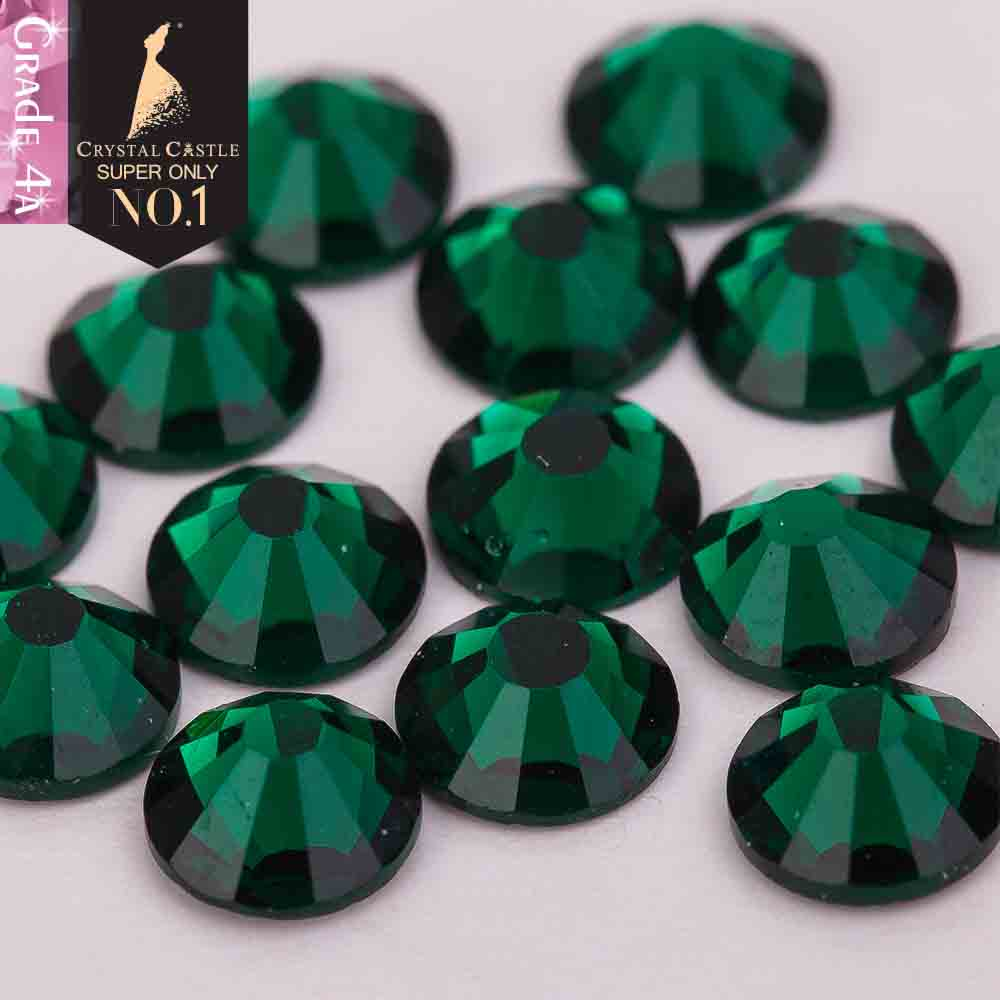 Crystal Castle 4A glass flatback rhinestone emerald non hot fix crystal none glue no hotfix strass rhinestones for nail art
