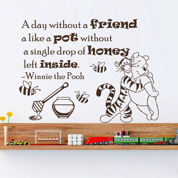 Winnie The Pooh Wall Decals Love Quote A Day Without Friend Interior Design Vinyl Decal