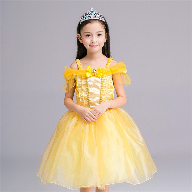 2017 New Style Belle Dress 2-8 Years Old Kids Girl Princess Cinderella Dress Halloween Costume Cute Yellow Belle Dress Vestidos kids tiger polyester costume for halloween yellow