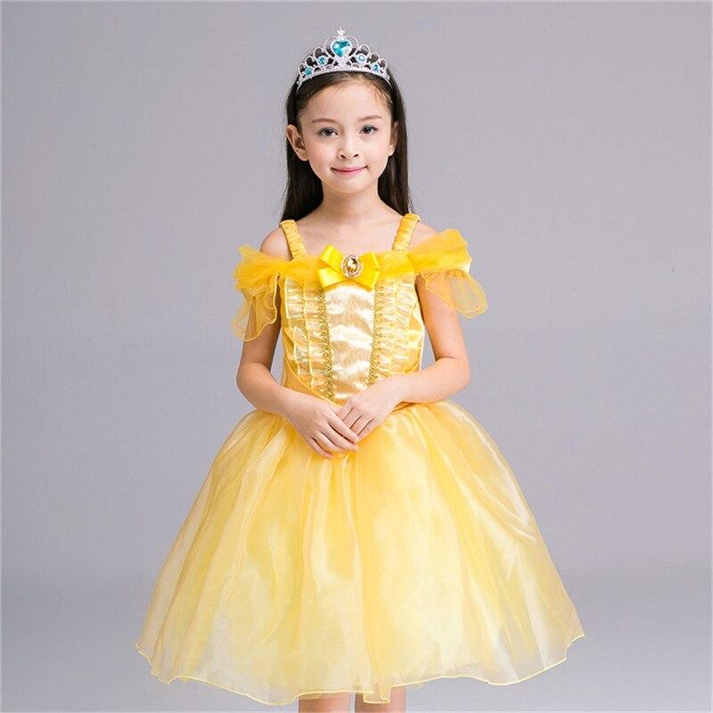 2017 New Style Belle Dress 2-8 Years Old Kids Girl Princess Cinderella Dress Halloween C ...