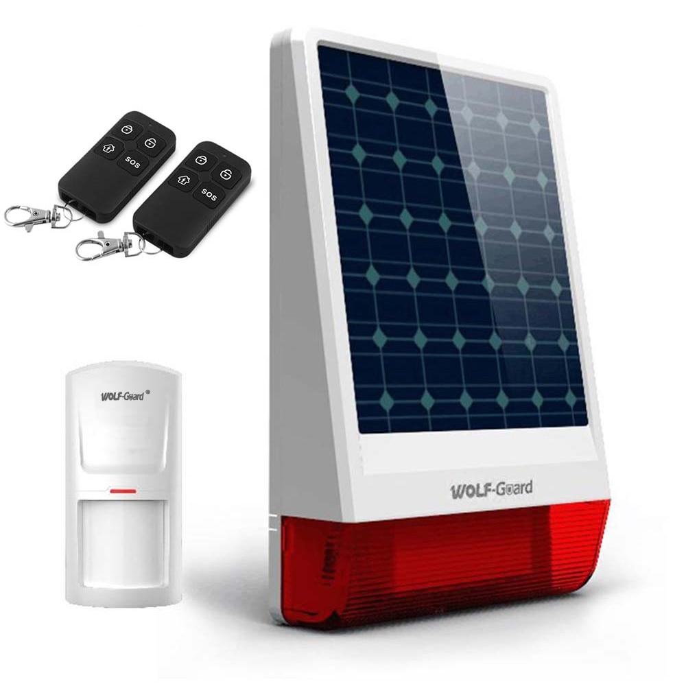 Wireless Outdoor Weather-Proof Solar Siren DIY Home Security Alarm Burglar System 1 PIR Motion Detector 2 Remote Controller