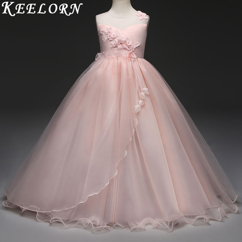 Keelorn Retail new style summer baby girl lace flower girl dress for wedding girls party dress with bow dress for 6-16 Year