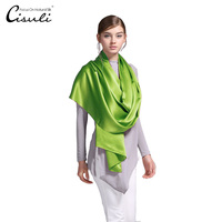 100% Silk Satin Long Scarf 55X180cm Pure Silk Exclusive Color New Trend Women Scarves and Shawls 33 Fresh Green Color