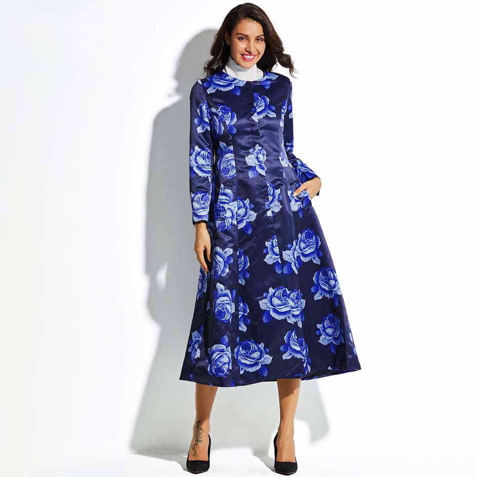 Young17 Autumn Coat Women 2018 Blue Hemline Button Print Elegant Round Neck Long Sleeve Coats Autumn Work   Trench   Coat