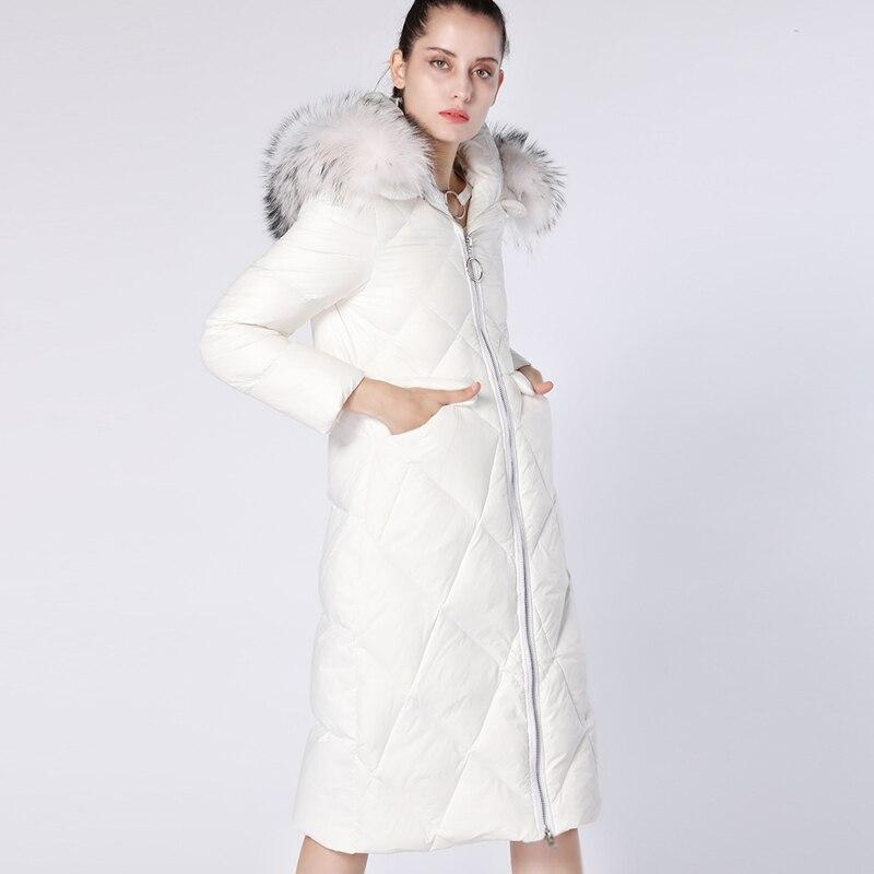 Pardessus 2018 D'hiver Vraie Femmes blanc Noir Long Veste Canard Chaud Marque Capuchon Le De Duvet Luxe Fourrure Bas Vers Blanc Élégant À Manteau Yo672 Ynzzu q0x1ff