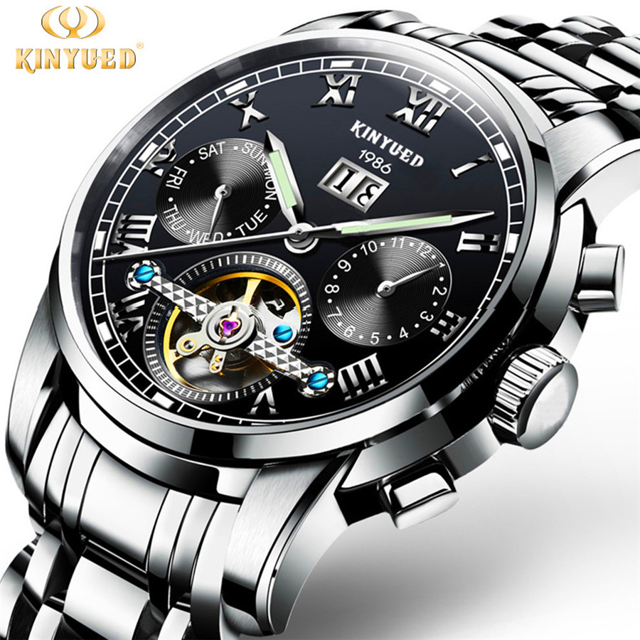 KINYUED Mens Watches Top Brand Luxury Automatic Mechanical Watch Men Stainless Steel Sapphire Calendar Relogio Masculino 2018 men luxury automatic mechanical watch fashion calendar waterproof watches men top brand stainless steel wristwatches clock gift