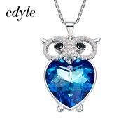 Cdyle Crystals from Swarovski Necklace Women Pendants S925 Sterling Silver Fashion Jewelry Blue Heart Owl Austrian Rhinestone