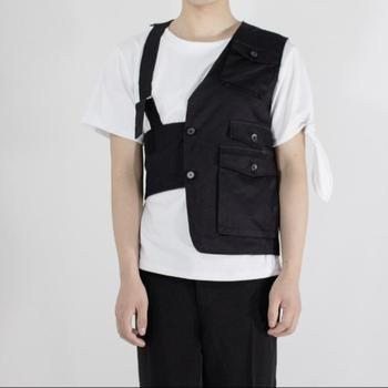 S-6xl Tide Men's Vest Irregular Asymmetric Slim Youth Solid Color Casual Tank Tops Personality Hairdresser Vest Singer Costumes