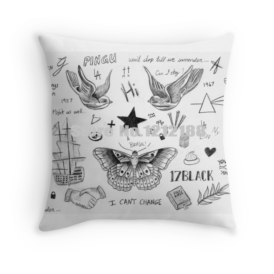 Harry Styles Tattoos Department Decorative Pillowcases 40 40 40 40 Extraordinary 24 Inch Pillow Cover