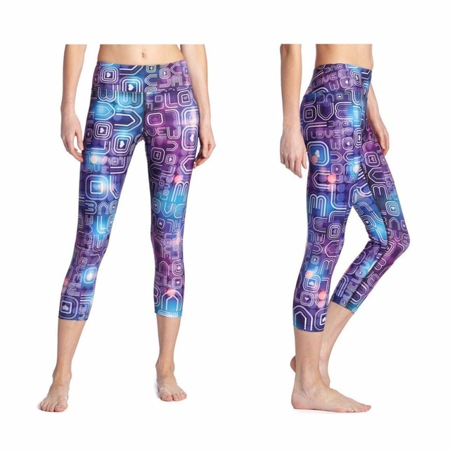 f25edc28a724a New Arrival Women Yoga Pants Multicolor Print Spandex Legging Fitness Capri  Legging Trousers Gym Quick Dry