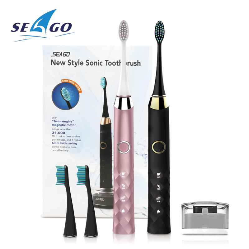 New Design Seago Ultrasonic USB Charging Rechargeable sonic toothbrush  Replacement Heads