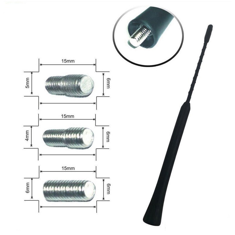 41cm Universal Car Antenna Mast Suitable For Vehicle 4MM 5MM 6MM Screw Thread Solid Aluminium 16'' Auto Aerial Antenna