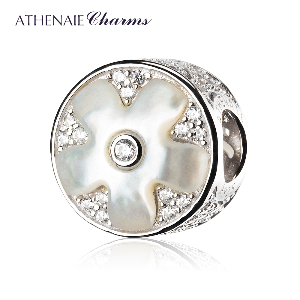 ATHENAIE 925 Sterling Silver Fritillaria Shell Cherry Blossoms Charms Bead Color White Fit Bracelets & Necklace