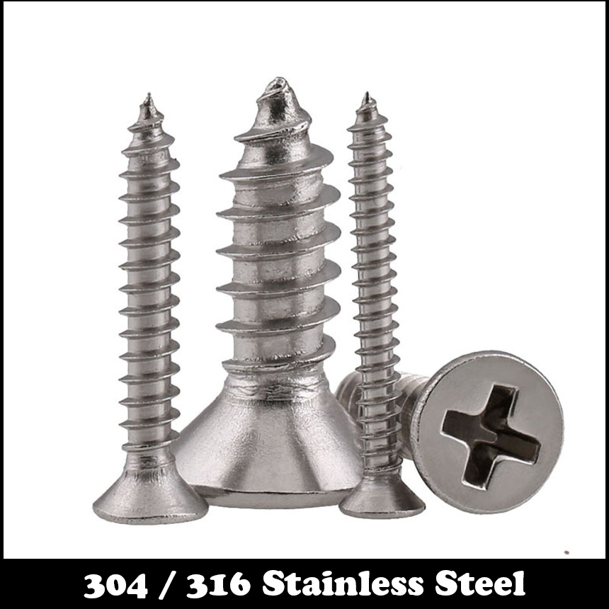 M4 M4*20 M4x20 M4*100 M4x100 304 316 Stainless Steel SS DIN7982 Cross Philips Recessed Countersunk CSK Flat Self Tapping Screw