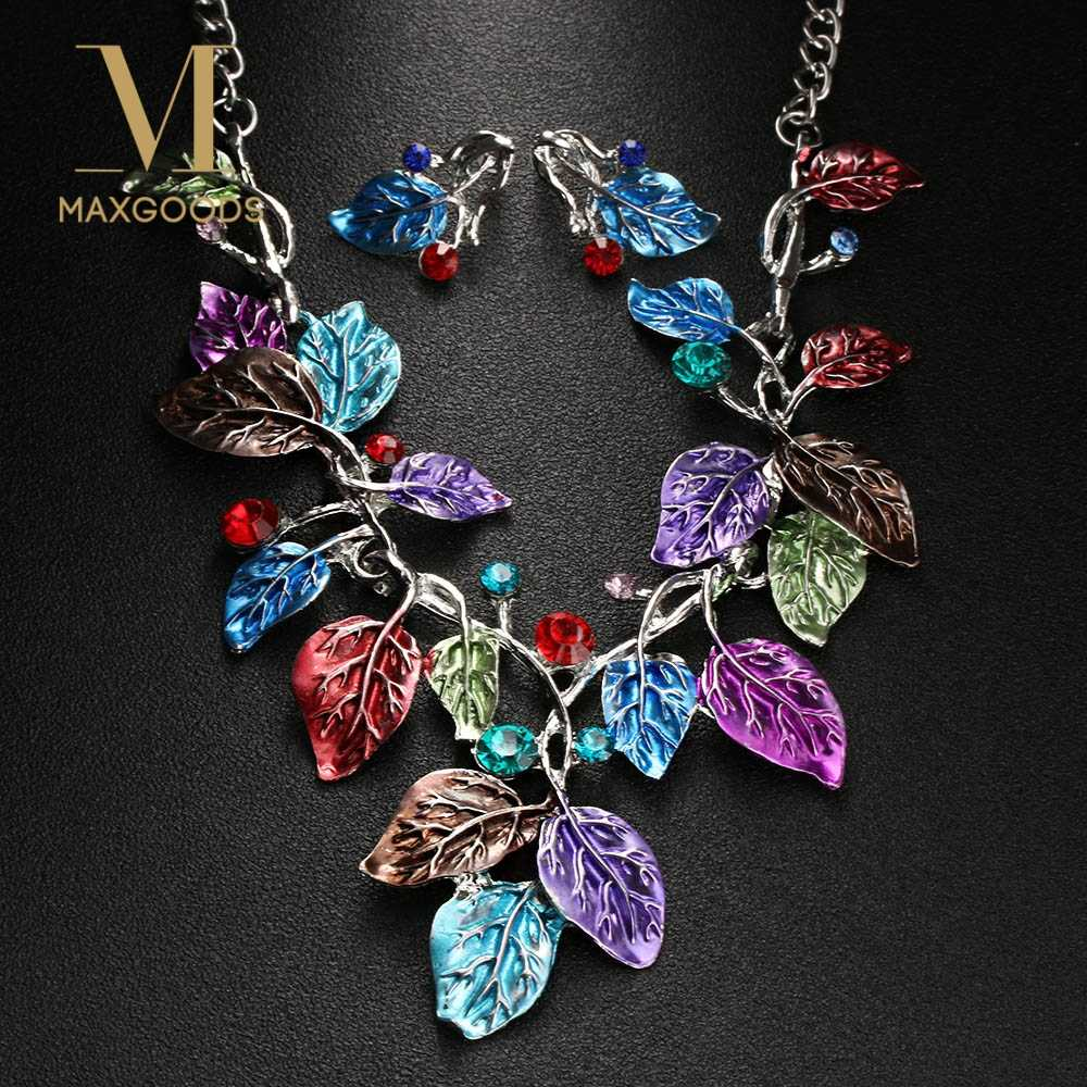 Fashion Owl Eagle Pendant Necklace Earring Vintage Leaf RhinestonePendant Necklace Earrings Set for Charm Women Wedding Jewelry