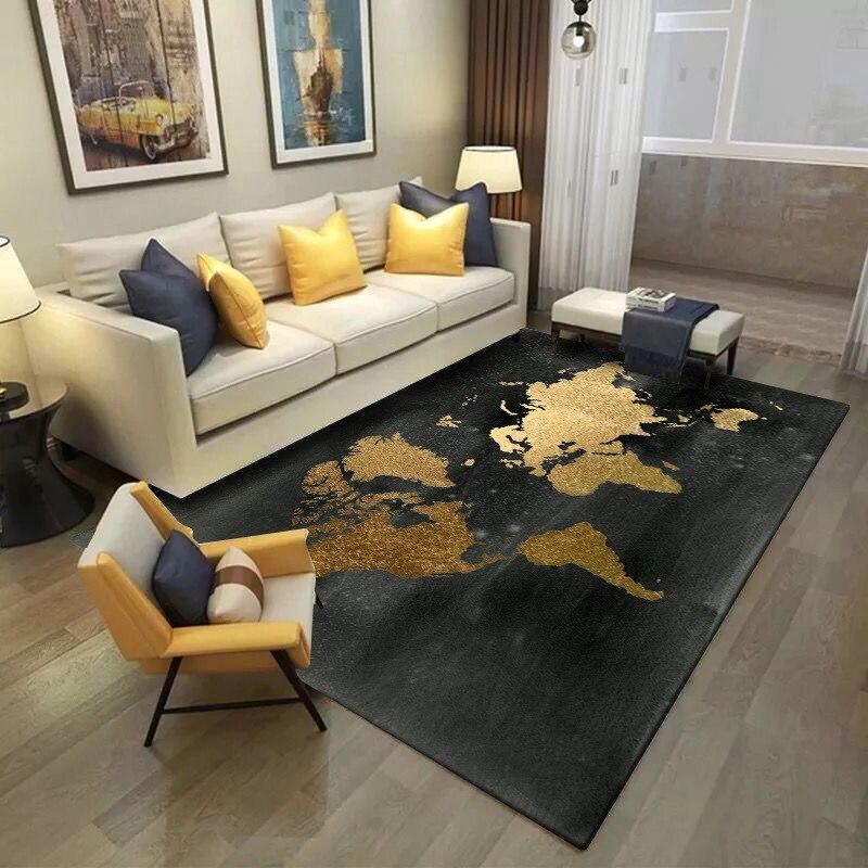 Golden World Map Printed Carpets For Living Room Bedroom Floor Mat Non-slip Carpet Kids Room Bedside Mat Sofa Table Rug Door Mat