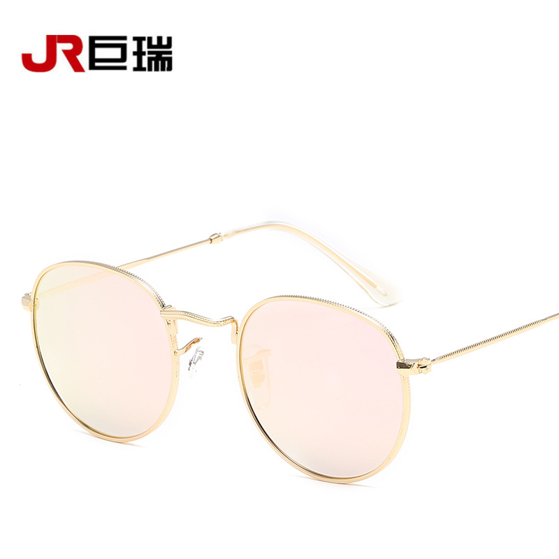 New European and American metal frame retro colorful sunglasses Men and women with the same fashion sunglasses Trendy glasses