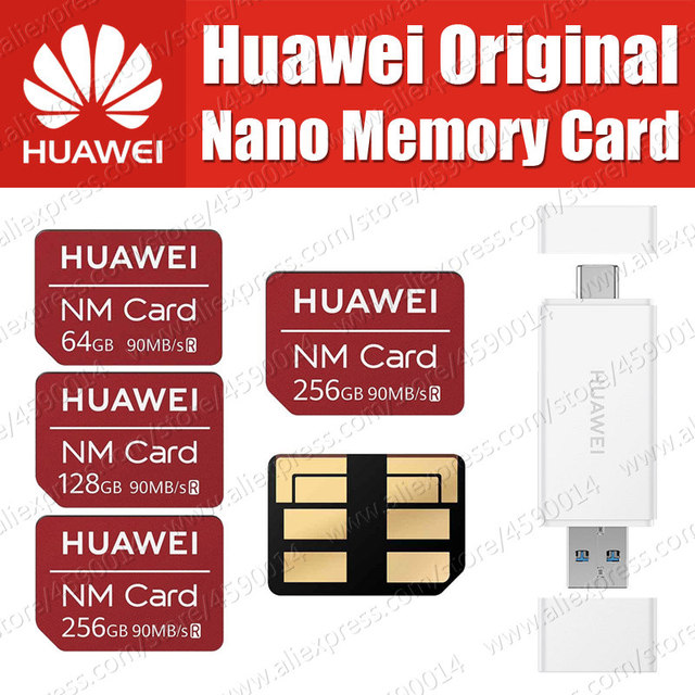 90MB/s 100% Original Huawei NM Card Nano 64GB/128GB/256GB Apply to Mate20 Pro Mate20 X With USB3.1 Gen 1 Card Reader