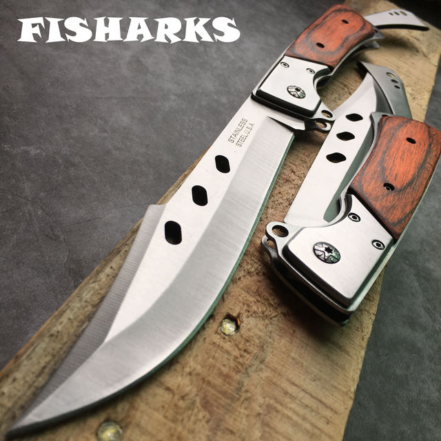 Couteau à lame pliante de poche en acier inoxydable militaire très robuste, auto défense, chasse en plein air, survie, Camp, couteaux de pêche